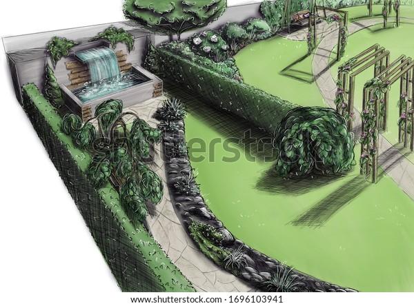 Landscape Architecture Design Plan Courtyard Villa Stock Illustration 1696103941