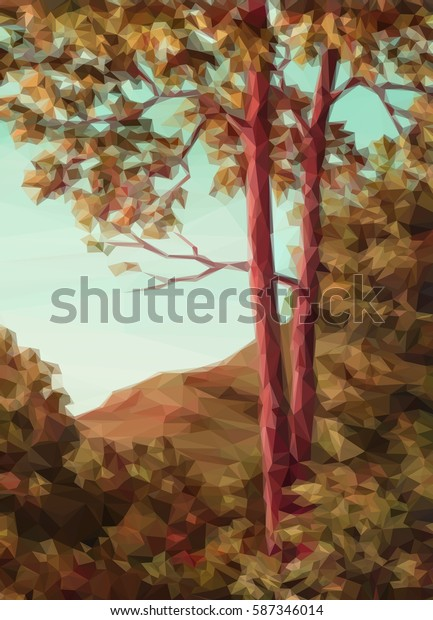 Landscape, Autumn Forest with Red Trees, Low Poly.