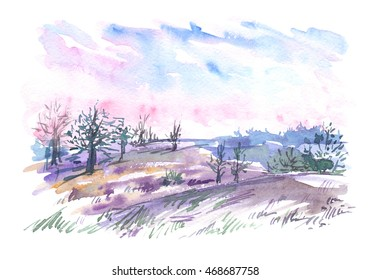 Landscape with bare trees in the field and pink and purple sunset sky painted in watercolor on white isolated background