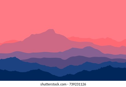 Landscape with blue and purple silhouettes of mountains and hills with beautiful bloody evening sky. Huge mountain range silhouettes in twilight. Raster illustration.