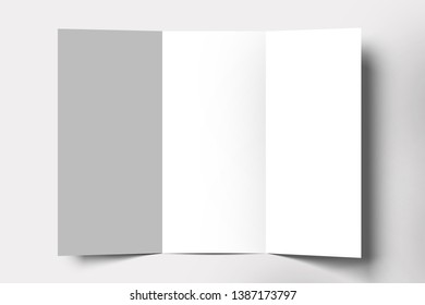Landscape Brochure blank white template for Mock up and presentation design isolated on soft gray background. 3D rendering.