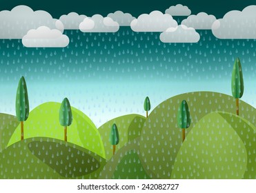 Landscape with by mountains and trees in the rain