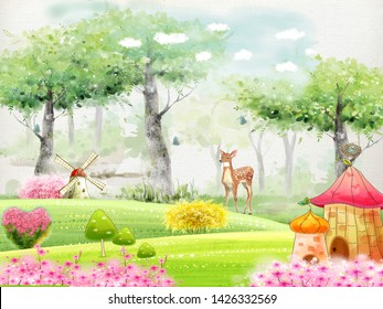 Landscape children's illustration, fairy forest, funny houses, a mill, green trees, pink flowers, a little fawn.