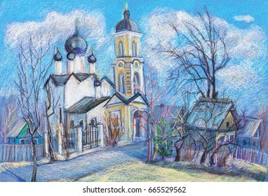 Landscape of  church with a bell tower