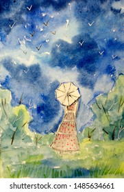 Landscape with cloudy sky and woman's figure under white umbrella.