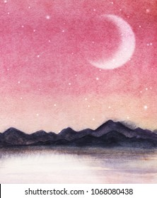 Landscape is a dark silhouette of mountain chain on the far side of the lake against the backdrop of pink sky with milk stars and moon. Hand drawn watercolor  background