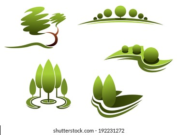 Landscape design logo elements:trees, shrubs, plants isolated on white background. Vector version also available in gallery