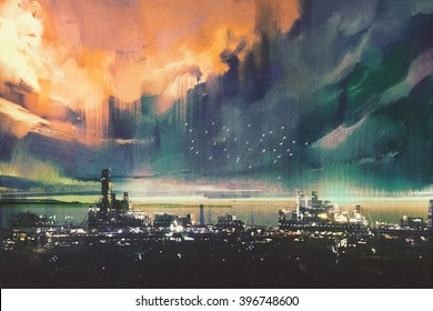 landscape digital painting of sci-fi city,illustration