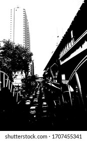 Landscape of the electric train structure in the city center illustration creates a black and white style of drawing.