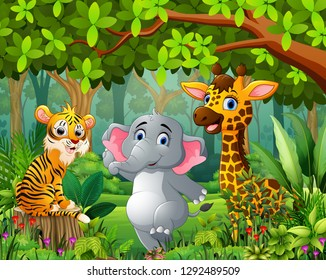 Landscape forest cartoon of green with wild animal