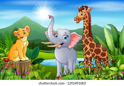 Landscape forest with happy animals cartoon