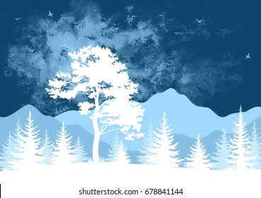 Landscape, Forest and Mountains with Trees, Birds in the Sky, White Silhouettes on Blue and Violet Hand-Draw Watercolor Painting Background