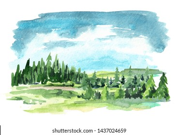 Landscape with the forest. Watercolor hand drawn illustration