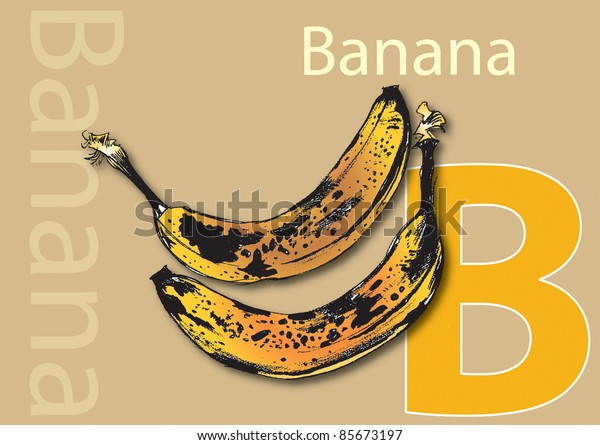 A landscape format poster with the word Banana and its initial, along with an accompanying illustration of banana's. Useful as a learning tool for schools.