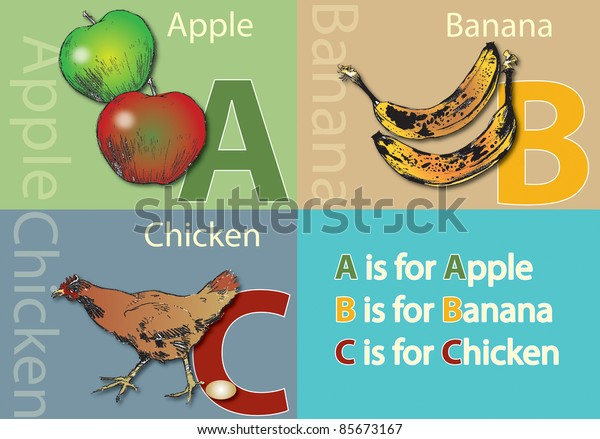 A landscape format poster with the words Apple, Banana and Chicken and their initials, along with an accompanying illustrations of a red and a green apples, bananas and a chicken and an egg.