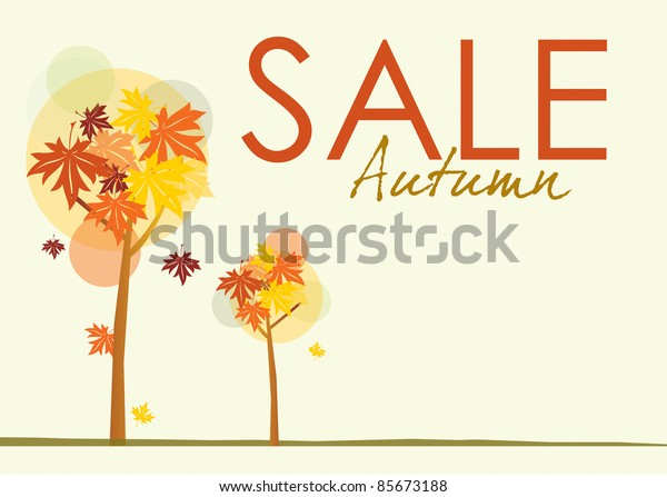 A landscape format sale poster with an autumnal theme. Stylized trees and autumn leaves on a pale background with text spelling autumn sale.