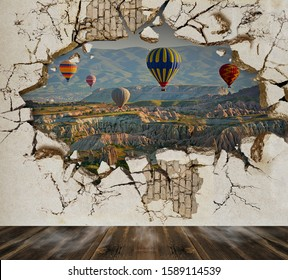 Landscape in the hole in the wall. Photo paper for walls. 3D wallpaper