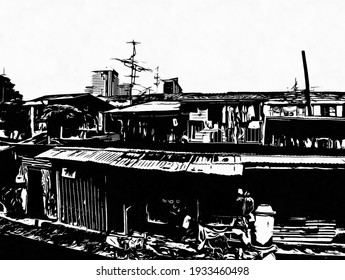 Landscape of houses in slum Bangkok Black and white illustrations.