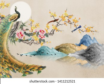 Landscape illustration, beige background, full moon, large peacock sits on a flowering branch, standing birds flies in the fog, hills