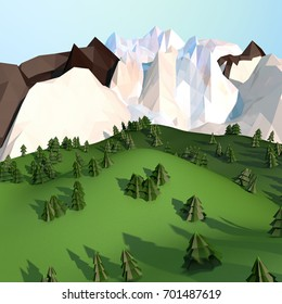 Landscape illustration - brown, white and ice mountains, green pine trees, and blue sky. Low poly 3d background.