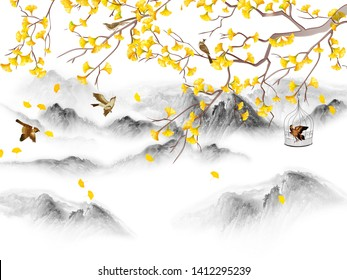 Landscape illustration, hills, forest fog, tree branch with yellow leaves, brown birds, one bird in a cage