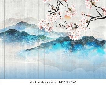 Landscape illustration, lake, fog, blue and gray hills, sunset, flowering cherry branch with sitting birds
