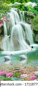 Landscape illustration - waterfall, forest, mountains, flying birds