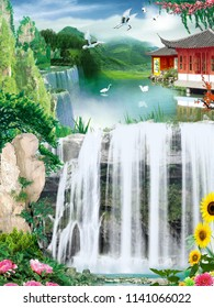 Landscape illustration, waterfalls, oriental houses on the river, birds