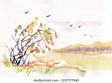 landscape in ink wash manner