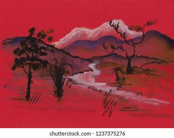 landscape in ink wash painting manner