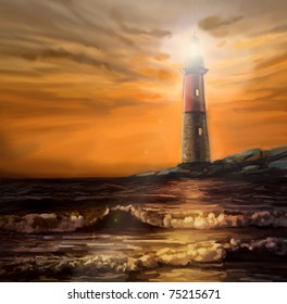 landscape with lighthouse and ocean, sunset, digital painting