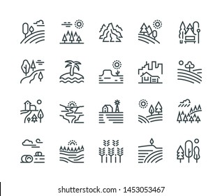 Landscape line icons. Nature park mountain hill forest trees and countryside garden, industrial megapolis cityscape  pictograms set