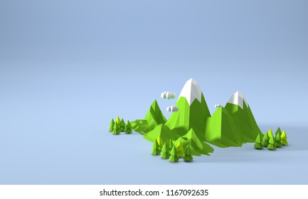 landscape low poly 3D rendering background mountain adventure relax concept blue backdrop