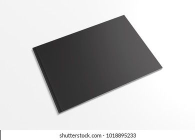 Landscape magazine, brochure with black cover isolated on white. 3d Illustration to showcase your design presentation.