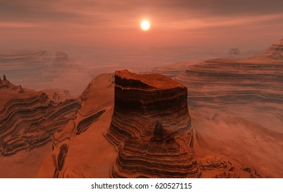 Landscape of Mars, Martian panorama, panorama of Mars, mountain landscape, 3d rendering