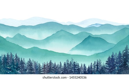 Landscape of misty mountains and coniferous forest watercolor illustration