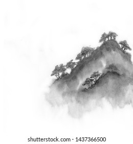 Landscape of a mountain of water by ink. Chinese ink painting. Painting on raw sheet