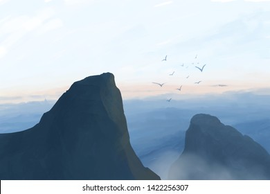 Landscape with mountains, clouds and birds. Sunset in the mountains.