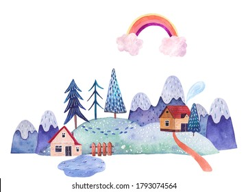 landscape with mountains, fields, paths, rainbow and clouds, houses in the snow, a fence and a lake near the house, watercolor illustration on a white background, children's room design, stickers