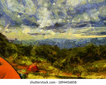 Landscape of mountains and forests Illustrations creates an impressionist style of painting.