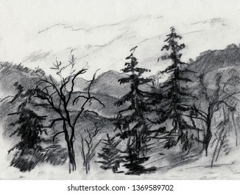 landscape with mountains, high spruces and trees in spring