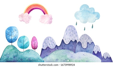 Landscape mountains water grass clouds goes rainbow trees watercolor illustration on a white background. Children's card background