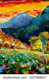Landscape nature Artistic handmade impasto texture closeup oil painting. Abctract structure brushwork pallete knife painted on canvas