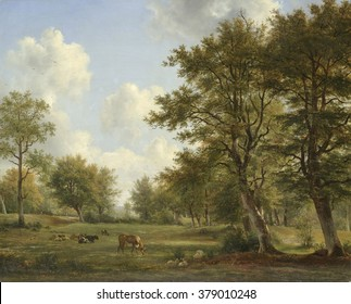 Landscape near Hilversum, by George Jacobus Johannes van Os and Pieter Gerardus van Os, 1820-39. Dutch painting, oil on canvas. Landscape around Hilversum. Tree-lined meadows with grazing cows and she
