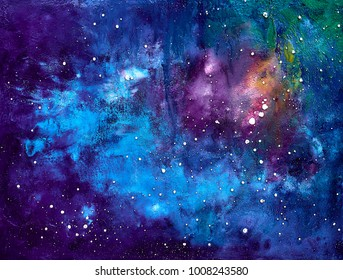 landscape oil painting - deep space , abstract background , shining stars
