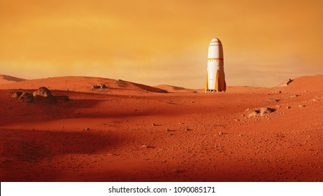 landscape on planet Mars, rocket landing on the red planet (3d space illustration)