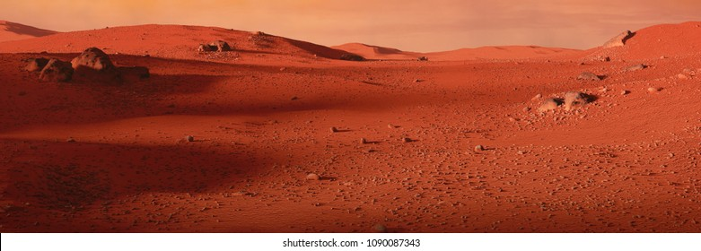 landscape on planet Mars, scenic desert on the red planet (3d space illustration banner)