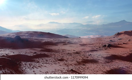 landscape on planet Mars, scenic desert scene on the red planet (3d space rendering)
