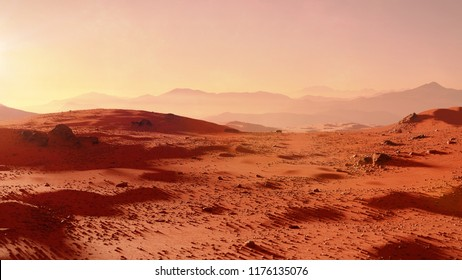 landscape on planet Mars, scenic desert scene on the red planet (3d space render)