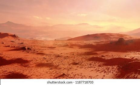 landscape on planet Mars, scenic desert scene on the red planet (3d space rendering)